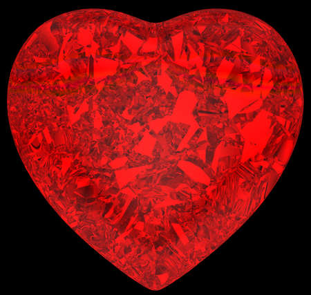 Red diamond heart shape over black background photo