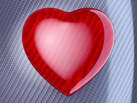 Red glossy heart shape over carbon fibre background photo