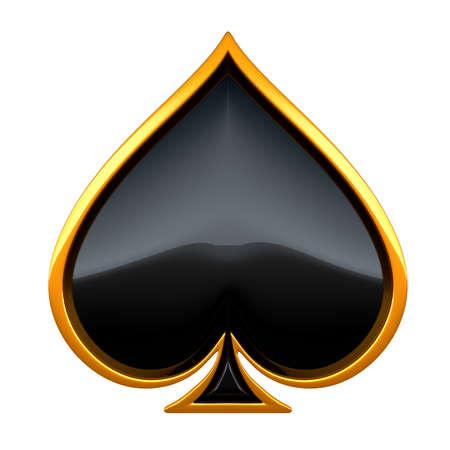 cartas de poker: Picas tarjeta trajes con oro encuadre aislado en blanco