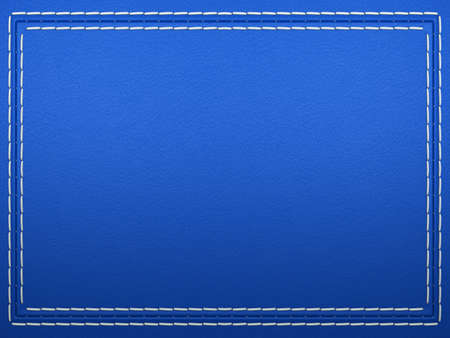 Stitched frame on blue leather background. Large resolution Stock Photo
