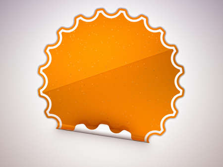 hamous: Spotted Orange round hamous sticker or label over grey spot light background Stock Photo