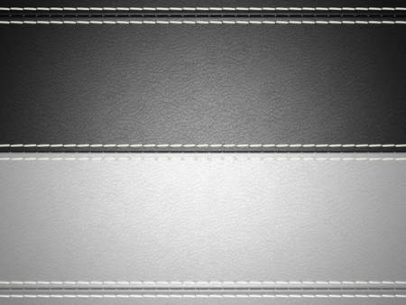 Black and grey horizontal stitched leather background. Large resolution photo