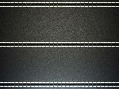 stitched: Black horizontal stitched leather background. Large resolution