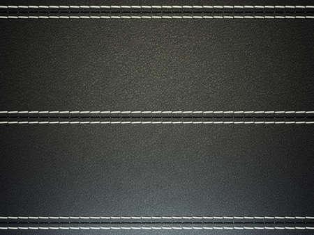 Black horizontal stitched leather background. Large resolution photo