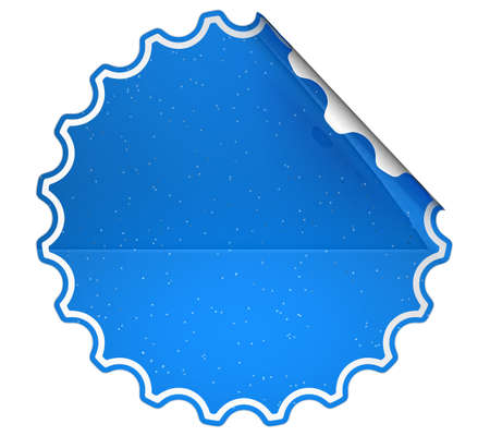 hamous: Blue round spotted sticker or label over white background