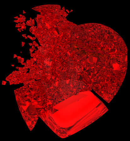 Broken crystal Heart: unrequited love, death, disease or pain. Isolated on black photo