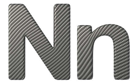 carbonfiber: Carbon fiber font N lowercase and capital letters isolated on white Stock Photo