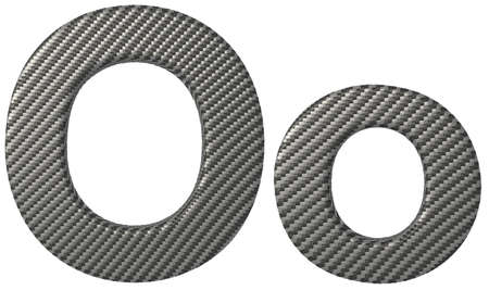 carbonfiber: Carbon fiber font O lowercase and capital letters isolated on white