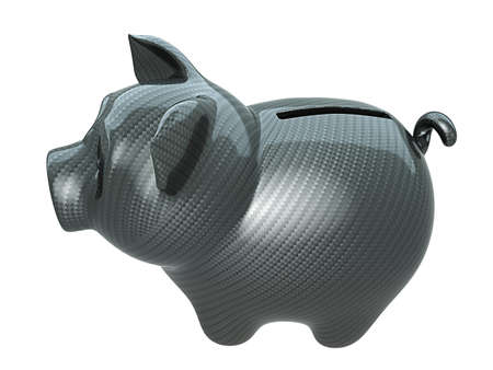 Carbon fiber piggy bank: confidence. Isolated on white Stock Photo - 9426094