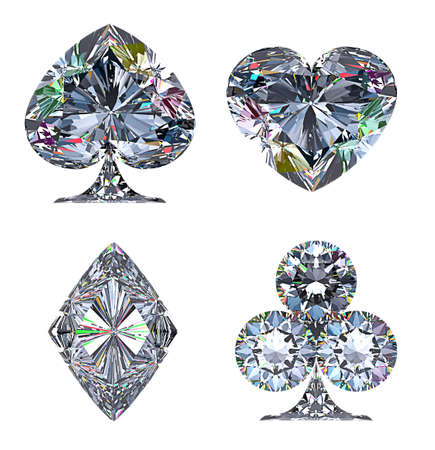jewelery: Colorful Diamond shaped Card Suits isolated over white