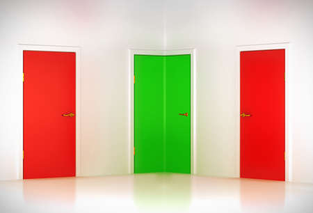 Correct choice: conceptual corner door in abstract room Stock Photo - 9426073
