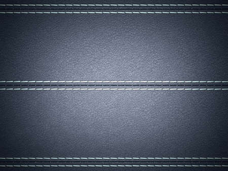 Dark Blue horizontal stitched leather background. Large resolution photo
