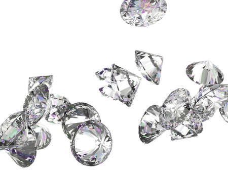 Large diamonds or gemstones isolated over white background photo