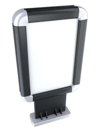 citylight: Carbon fiber Billboard or citylight on stand isolated on white