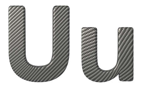 carbonfiber: Carbon fiber font U lowercase and capital letters isolated on white