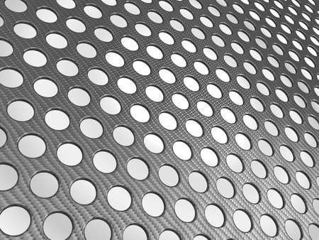 composite: Carbon fibre surface perforated over studio light background