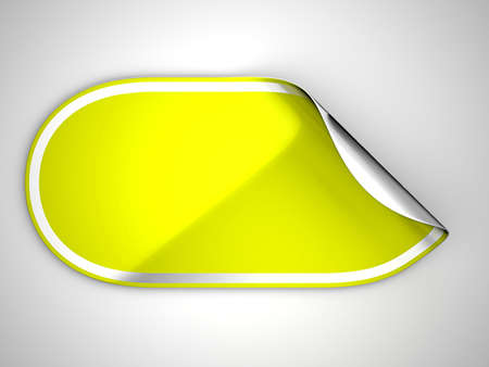 Rounded Yellow hamous sticker or label over grey spot light background