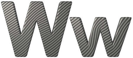 carbonfiber: Carbon fiber font W lowercase and capital letters isolated on white