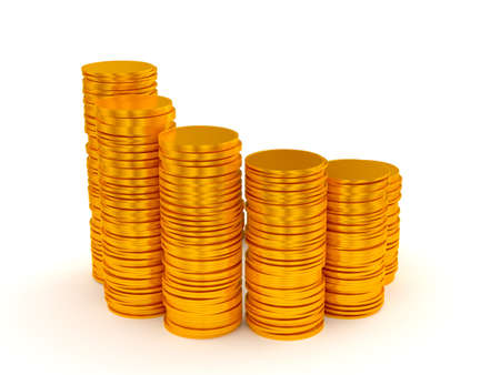 Growth: coins stacks semicircle shape over white Stock Photo - 9521828