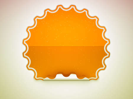hamous: Orange spotted hamous sticker or label over grey spot light background Stock Photo