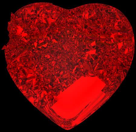 unrequited love: Cristal rojo Broken Heart: amor no correspondido, muerte, enfermedad o dolor. Aislados en negro