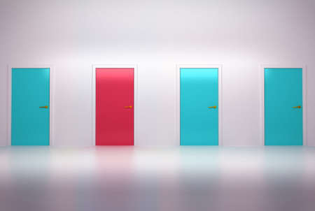 Right choice: four conceptual doors in abstract room photo