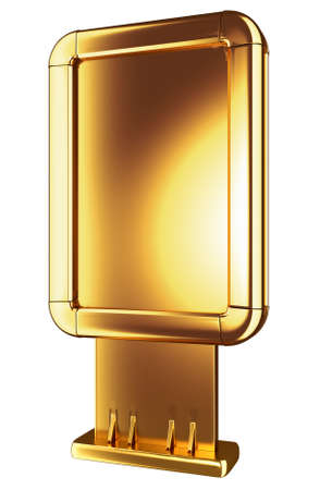 lightbox: Golden Billboard or lightbox isolated on white. Front side view