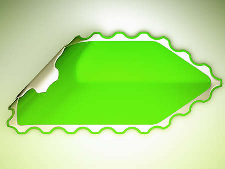 hamous: Green jagged hamous sticker or label over grey spot light background