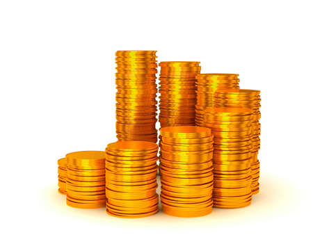 Growth and wealth: coins stacks semicircle shape over white Stock Photo - 9521923