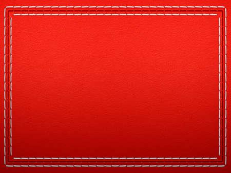 赤い革の背景にステッチ フレーム。大解像度