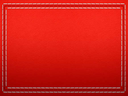 Stitched frame on Red leather background. Large resolution Stock Photo - 9521937