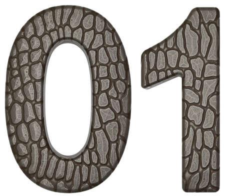 Alligator skin font 0 1 numerals isolated on white photo