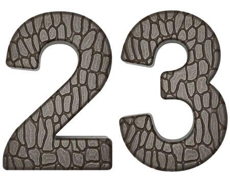 Alligator skin font 2 3 digits isolated on white photo