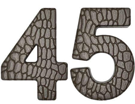 4 5: Alligator skin font 4 5 digits isolated on white