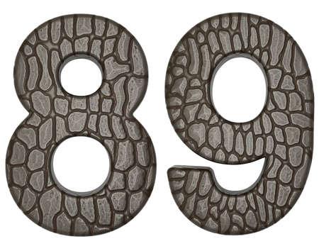 Alligator skin font 8 9 digits isolated on white photo