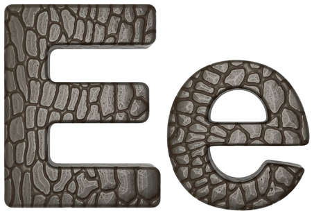 Alligator skin font E lowercase and capital letters isolated on white photo