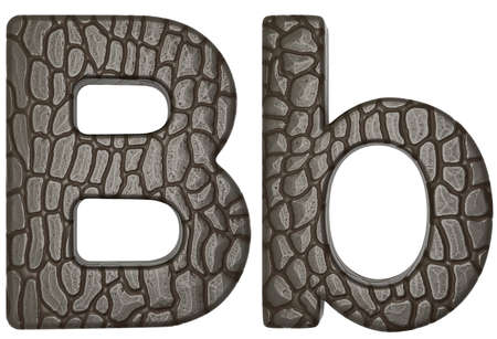 Alligator skin font B lowercase and capital letters isolated on white photo