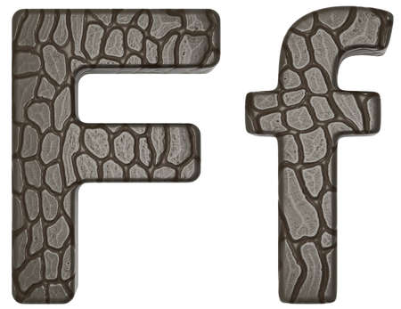 Alligator skin font F lowercase and capital letters isolated on white photo