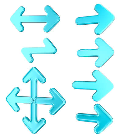 Blue arrows collection or set isolated over white background photo