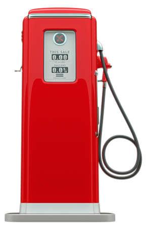 白い背景の上に孤立したレトロな赤い燃料ポンプ