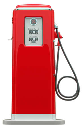 Retro red fuel pump isolated over white background photo