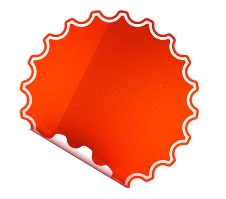 hamose: Round Red sticker or label over white background