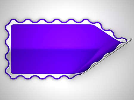 hamous: Violet hamous sticker or label over grey spot light background Stock Photo