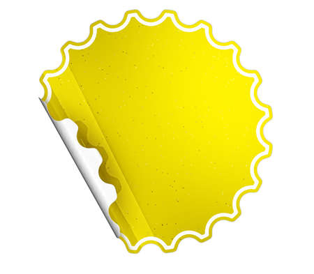 hamous: Yellow round hamous sticker or label over white background