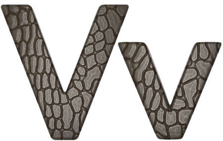 Alligator skin font V lowercase and capital letters isolated on white photo