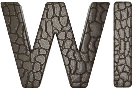 Alligator skin font w and i capital letters isolated on white photo
