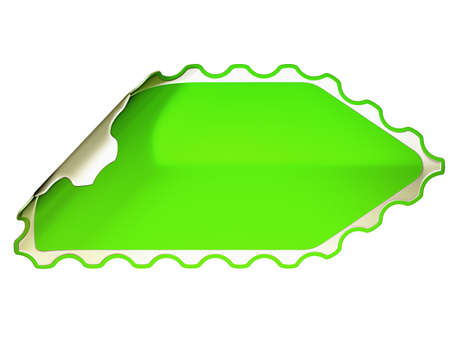hamose: Green jagged hamous sticker or label over white background Stock Photo