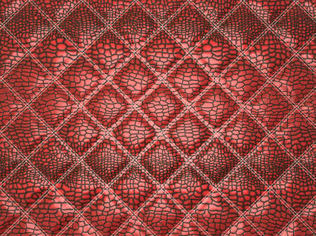 Red Alligator skin with stitched rectangles. Useful as texture or background Stock Photo - 9674159