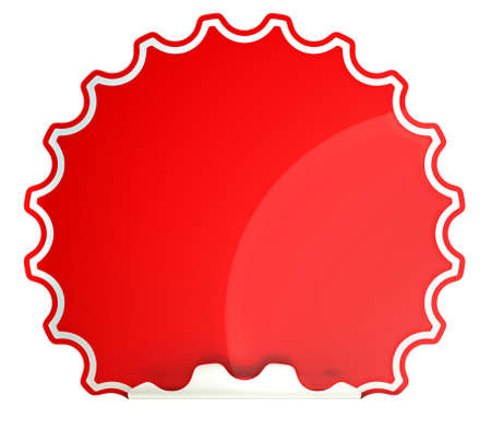hamous:  Red round hamous sticker or label over white background Stock Photo