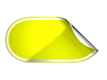 Rounded Yellow hamous sticker or label over white background